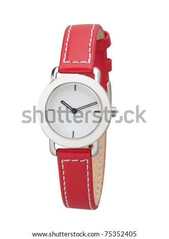 Nice lady wristwatch in red color isolated on white