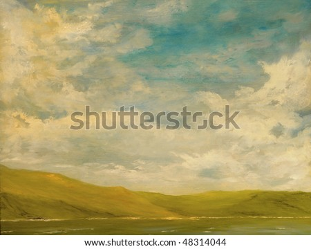Nice Landscape Oil Painting of the mountains and sea