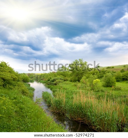 Nice landscape with small river in steppe