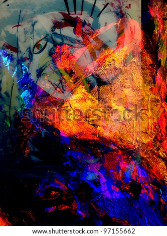 Nice large scale image of a abstract oil painting on for Using fabric paint on glass