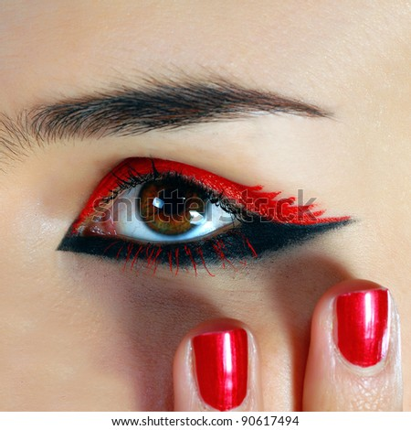 nice manicure and a beautiful girl eye