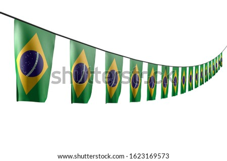 nice many Brazil flags or banners hangs diagonal with perspective view on rope isolated on white - any occasion flag 3d illustration