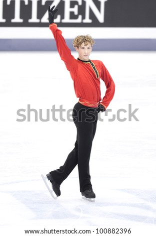NICE - MARCH 30: Adam Rippon of the USA skates during official practice at the ISU World Figure Skating Championships, held on March 30, 2012 in Nice, France