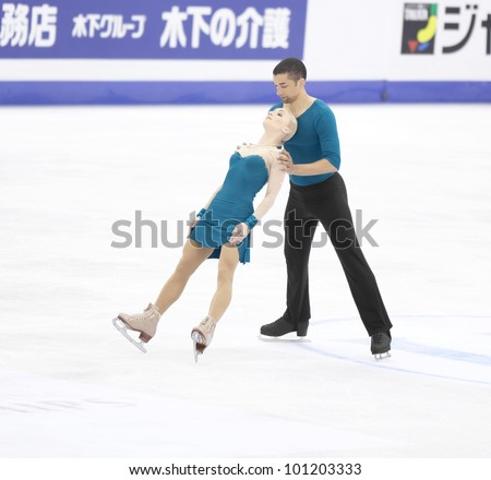 NICE - MARCH 30: Aliona Savchenko and Robin Szolkowy of Germany perform their free skating at the ISU World Figure Skating Championships, held on March 30, 2012 in Nice, France