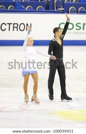 NICE - MARCH 28: Aliona Savchenko and Robin Szolkowy of Germany take a bow as they finish their short program at the ISU World Figure Skating Championships, held on March 28, 2012 in Nice, France
