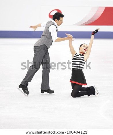 NICE - MARCH 29: Anna Cappellini and Luca Lanotte of Italy perform their free dance at the ISU World Figure Skating Championships on March 29, 2012 in Nice, France