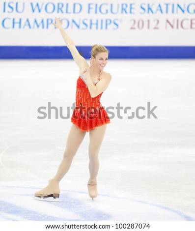 NICE - MARCH 29: Ashley Wagner of the USA performs her short program at the ISU World Figure Skating Championships, held on March 29, 2012 in Nice, France