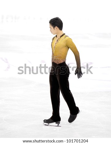 NICE - MARCH 31: Denis Ten of Kazakhstan performs his free skating at the ISU World Figure Skating Championships, held on March 31, 2012 in Nice, France