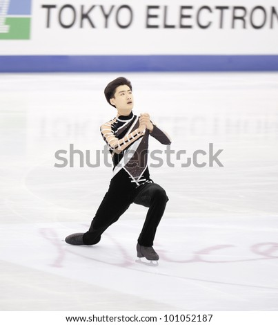 NICE - MARCH 30: Nan Song of China performs his short program at the ISU World Figure Skating Championships, held on March 30, 2012 in Nice, France