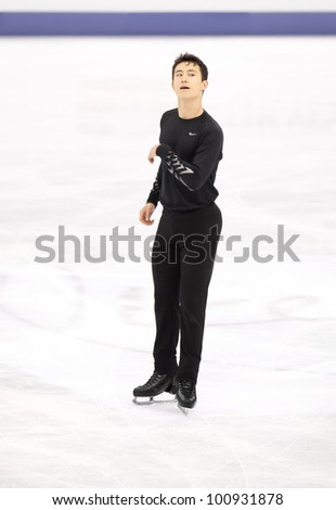 NICE - MARCH 30: Patrick Chan of Canada skates during official practice at the ISU World Figure Skating Championships, held on March 30, 2012 in Nice, France