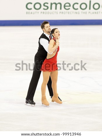NICE - MARCH 28: Stefania Berton and Ondrej Hotarek of Italy perform their short program at the ISU World Figure Skating Championships, held on March 28, 2012 in Nice, France
