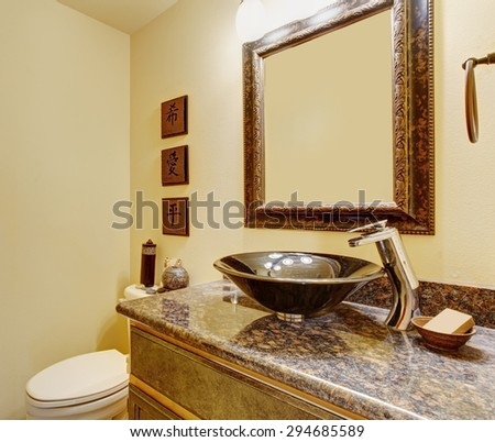 Nice master bathroom with marble counters, and tile floors in luxury home.