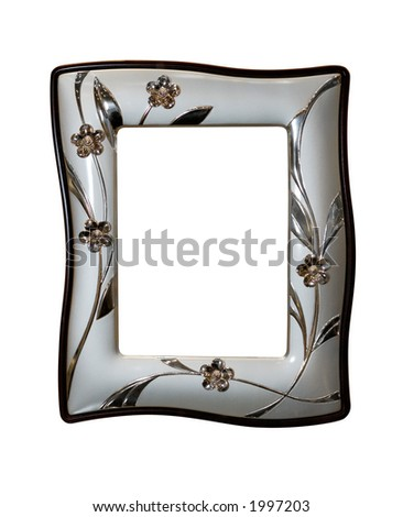Nice modern gray metallic photo frame isolated with clipping path on white background