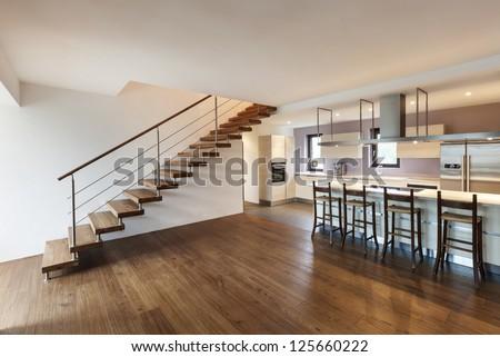 nice modern loft, view of the kitchen