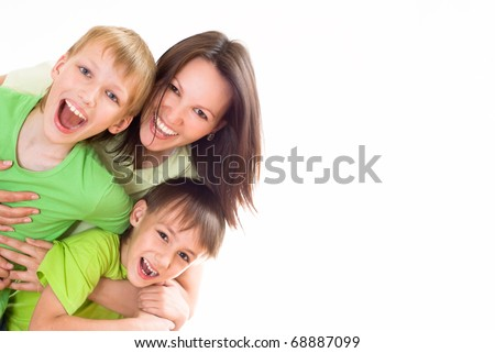 nice mom and children on a white