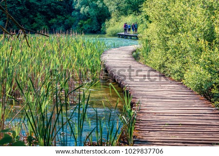 Nice morning view of Plitvice National Park. Colorful spring scene of turists walking on the bridge in green forest with lakes. Great countryside view of Croatia, Europe. Traveling concept background.