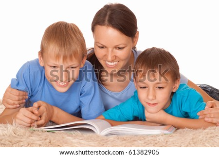 nice mother with her two children - stock photo
