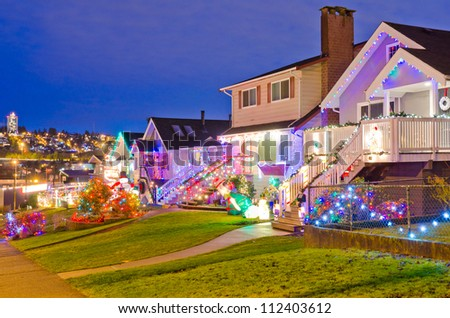 Nice neighborhood decorated and lighted for Christmas and for New Year Eve at Night at Vancouver, Canada.