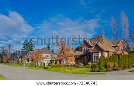Nice neighborhood. Homes in the suburbs of the North America. Canada.