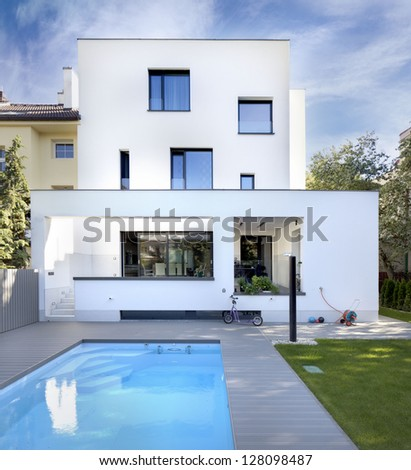 nice new family house with swimming pool and minimalistic garden