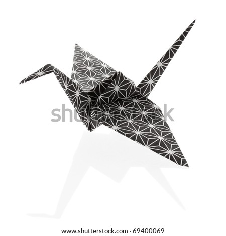 Nice Origami Crane, folded out of a rice paper with traditional japanese pattern.