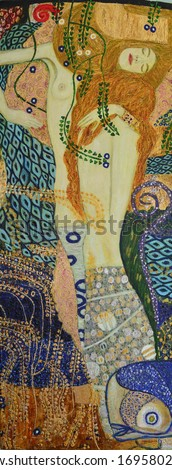 Nice painting of a young woman. On the motives of painting by Gustav Klimt. Water serpents 1. Oil on canvas 50x130 cm