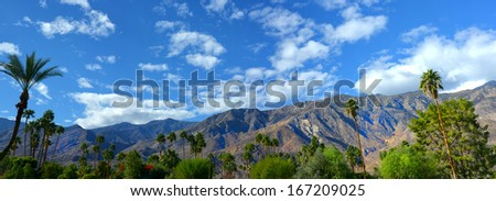 Nice panorama of Palm springs, California USA in springtime