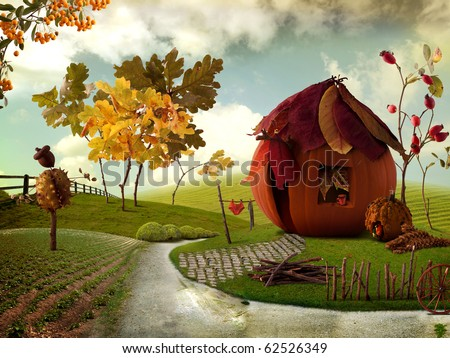 Nice picture-collage with a pretty Pumkin-Cottage and Chestnut-Acorn Scarecrow