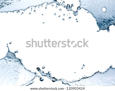 Nice picture frame made from blue splashing water on white background