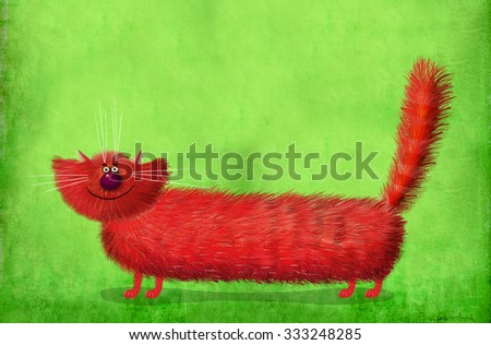 Nice picture of a very friendly red fluffy cat on the wonderful gradient green background