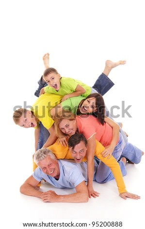 nice pile of a colorful people on white
