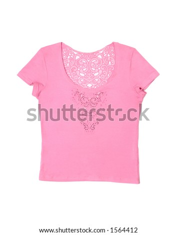 Nice pink female T-shirt isolated on white background with clipping path