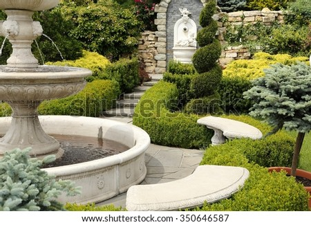 Nice place in the garden with a fountain.