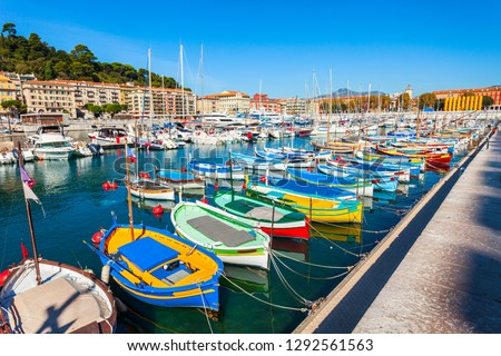 Nice port with boats and yachts. Nice is a city located on the French Riviera or Cote d'Azur in France. Stock photo ©