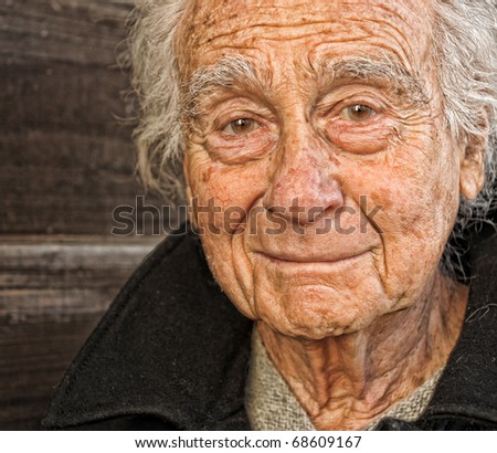 Nice portrait Image of a senior man Outdoors - stock photo