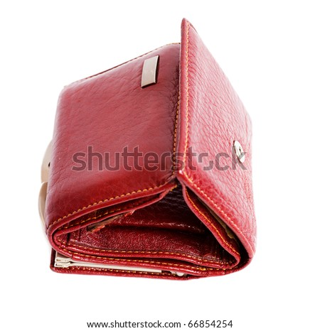 Nice red womans wallet isolated on white