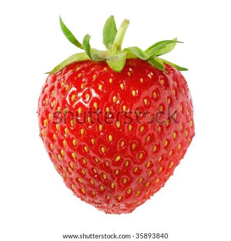 Nice ripe strawberry on pure white background