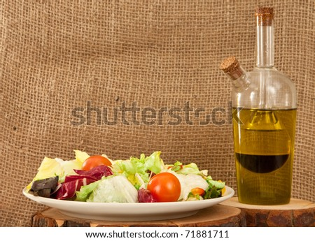 Nice rustic image of a plate of salad with dressing