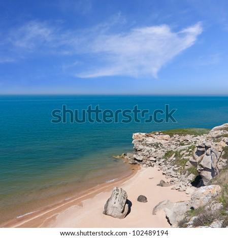 nice scene on seashore - stock photo