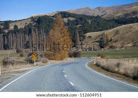 Nice scenery road to Crown Range southern island New Zealand