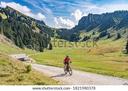 nice senior woman riding her electric mountain bike up to the Schreiber Sattel below Winterstaude summit in the Bregenzer Wald mountain range in Vorarlberg, Austria Stock foto ©