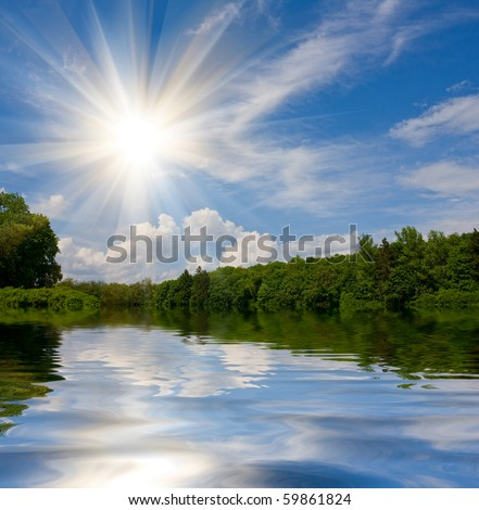 Nice summer landscape with lake in forest