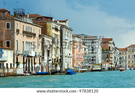 Nice summer venetian Grand canal view, Venice, Italy. All peoples is unrecognizable.