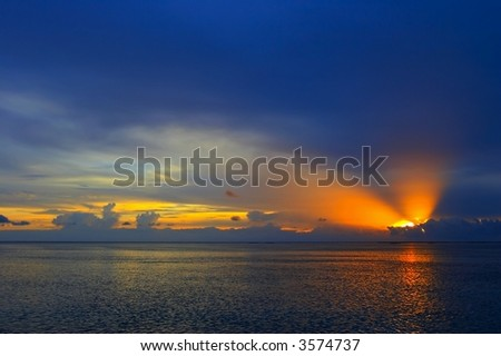 Nice Sunset in the Indian Ocean, Maldives - stock photo