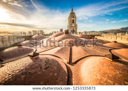 Nice sunset on the roof of Malaga cathedral Malaga Spain #1253335873