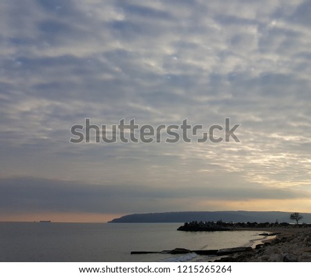 Nice sunset over Black Sea at Varna (Bulgaria) #1215265264