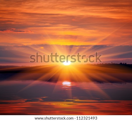 nice sunset over lake water