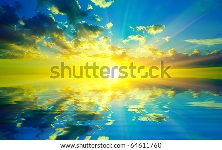 Nice sunset over water reflection