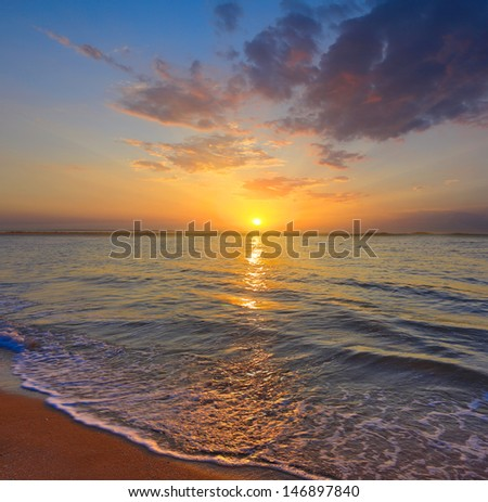 Nice sunset scene on sea