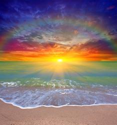 Nice sunset scene over sea